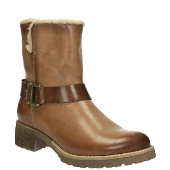 Skórzane buty zimowe zfuterkiem bata, brązowy, 594-4609 - 13