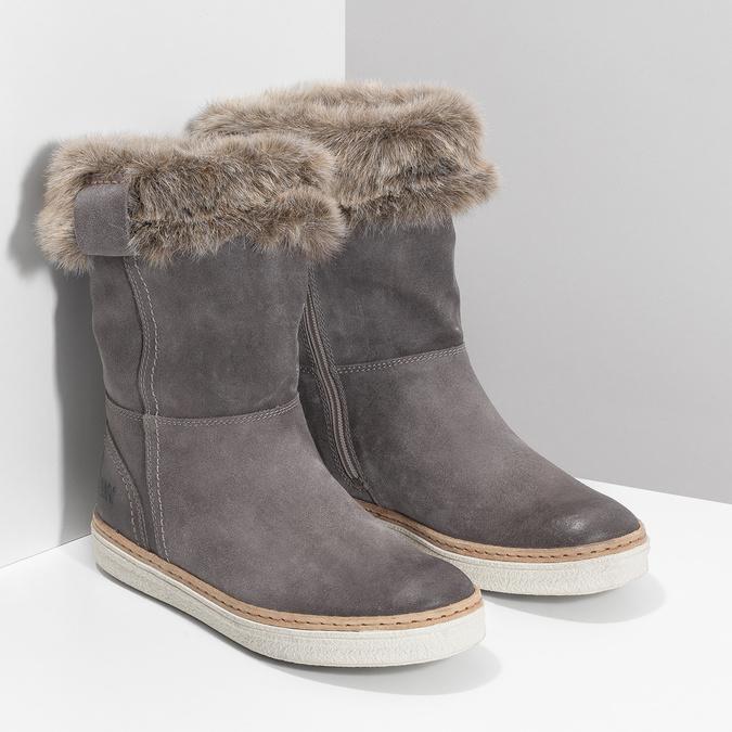 Skórzane buty z futerkiem weinbrenner, szary, 596-2633 - 26