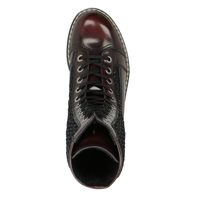 Skórzane sznurowane buty na wyrazistej podeszwie weinbrenner, czerwony, 596-5635 - 19