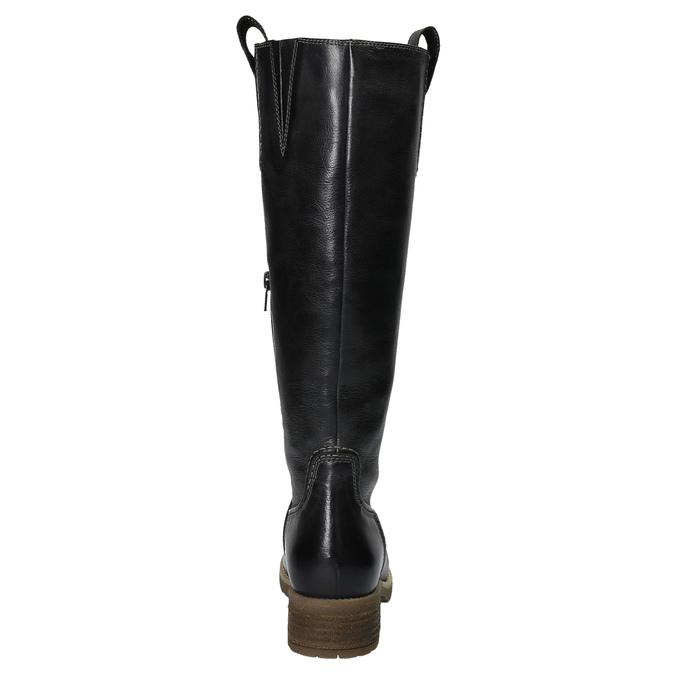 Skórzane kozaki z masywną podeszwą bata, czarny, 594-6613 - 17