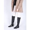 Skórzane kozaki damskie do kolan bata, czarny, 594-6605 - 18