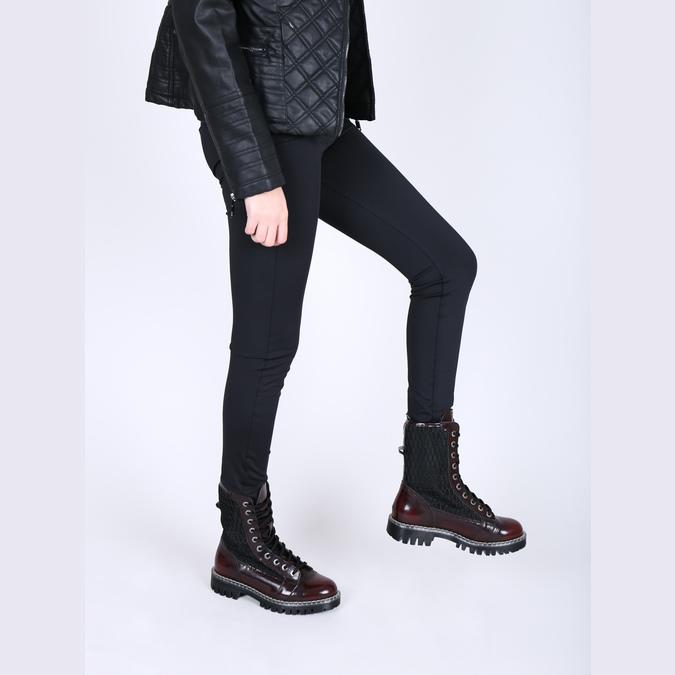 Skórzane sznurowane buty na wyrazistej podeszwie weinbrenner, czerwony, 596-5635 - 18