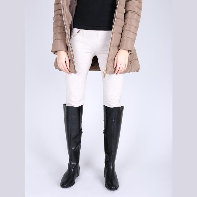 Skórzane kozaki damskie do kolan bata, czarny, 594-6605 - 15