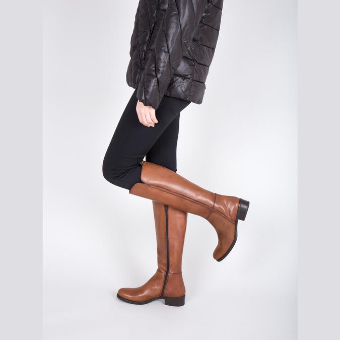 Damskie skórzane kozaki bata, brązowy, 594-3586 - 18