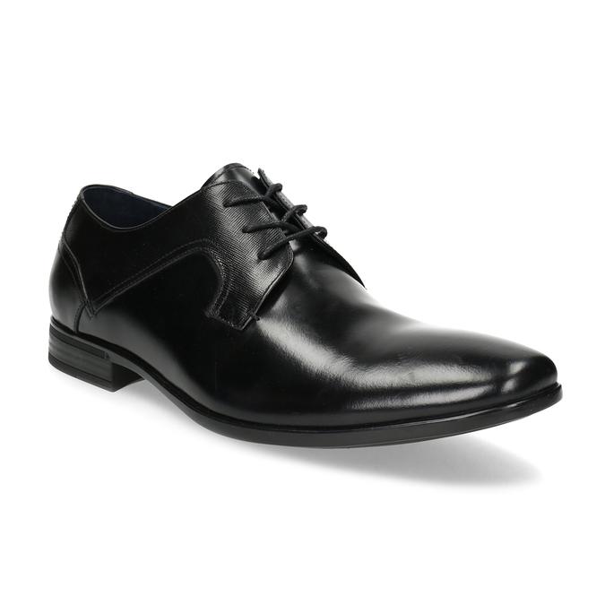 Czarne skórzane półbuty męskie bata, czarny, 824-6758 - 13