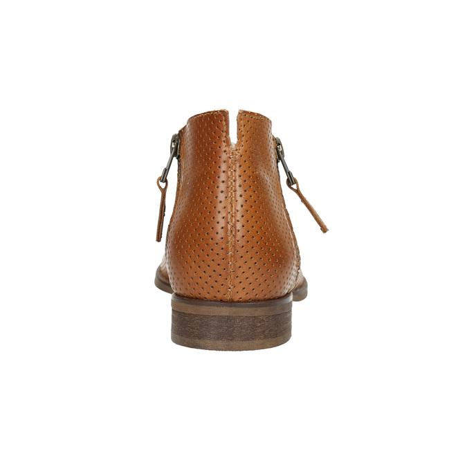 Skórzane botki zperforacją bata, brązowy, 596-4647 - 17