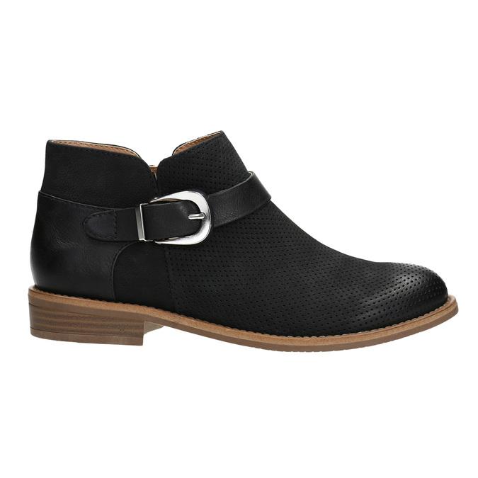 Skórzane botki zklamrami bata, czarny, 596-6634 - 15