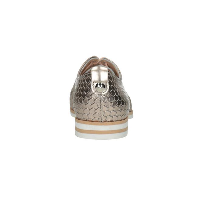 Skórzane półbuty zwzorem łusek bata, złoty, 526-8627 - 17