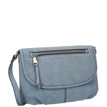 Torebka typu crossbody zperforowaną klapą bata, niebieski, 961-9709 - 13
