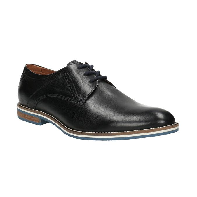 Skórzane półbuty zpodeszwą wpaski bata, czarny, 826-6790 - 13