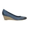 Perforowane czółenka na platformie bata, niebieski, 626-9638 - 15