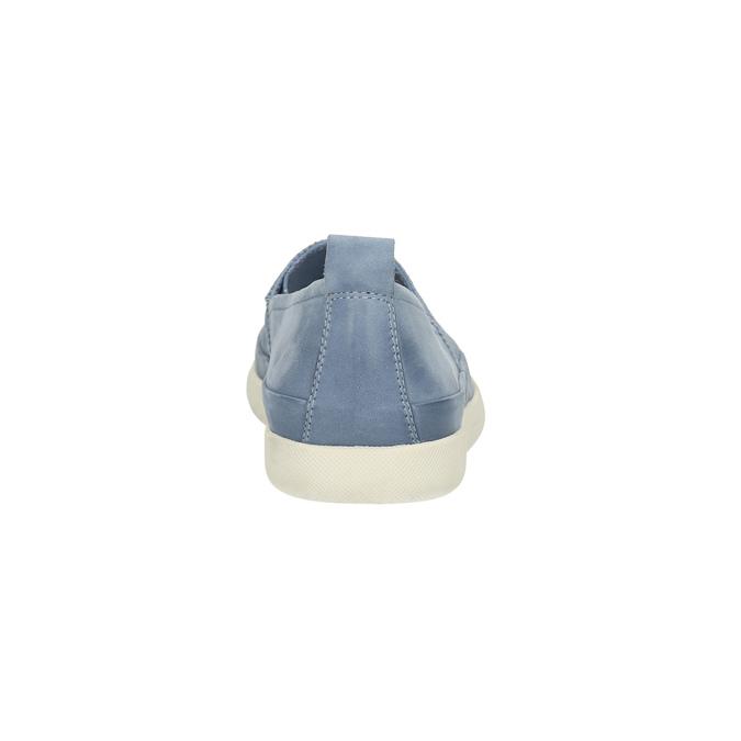 Damskie skórzane buty z perforacją bata, niebieski, 516-9601 - 17