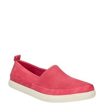 Skórzane buty z perforacją bata, różowy, 516-5601 - 13