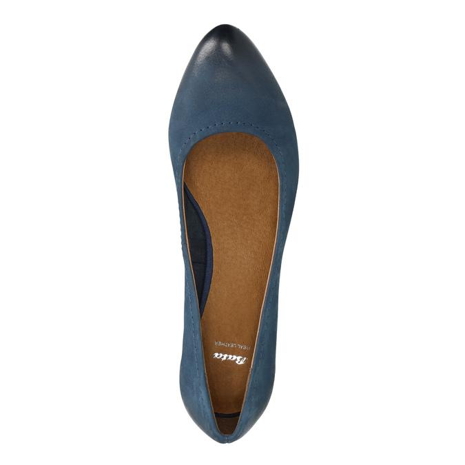 Damskie skórzane czółenka bata, niebieski, 626-9639 - 19