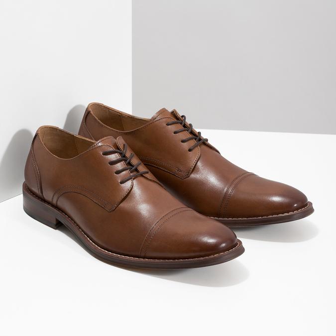 Brązowe skórzane półbuty typu angielki bata, brązowy, 826-3812 - 26