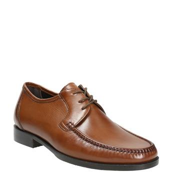 Skórzane męskie półbuty zwyrazistymi przeszyciami bata, brązowy, 824-4838 - 13