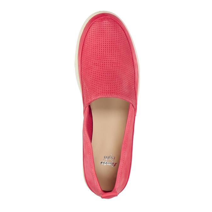 Skórzane buty z perforacją bata, różowy, 516-5601 - 19