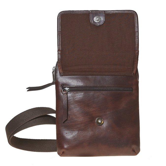Skórzana torba typu crossbody bata, brązowy, 964-4237 - 17
