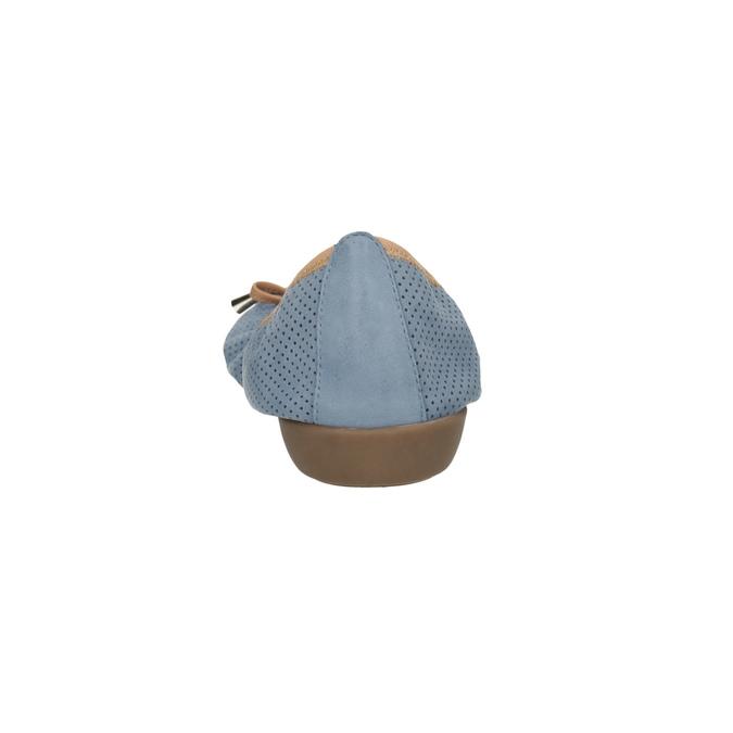 Skórzane niebieskie baleriny zelastyczną lamówką bata, niebieski, 526-9617 - 17