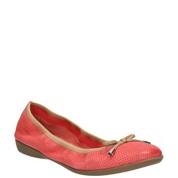 Czerwone baleriny zelastyczną lamówką bata, czerwony, 526-5617 - 13