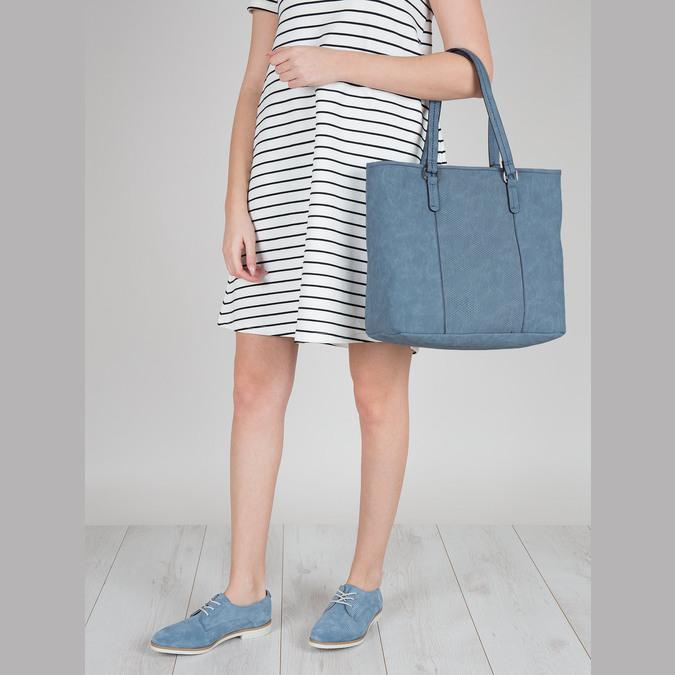 Niebieskie skórzane półbuty bata, niebieski, 523-9600 - 18