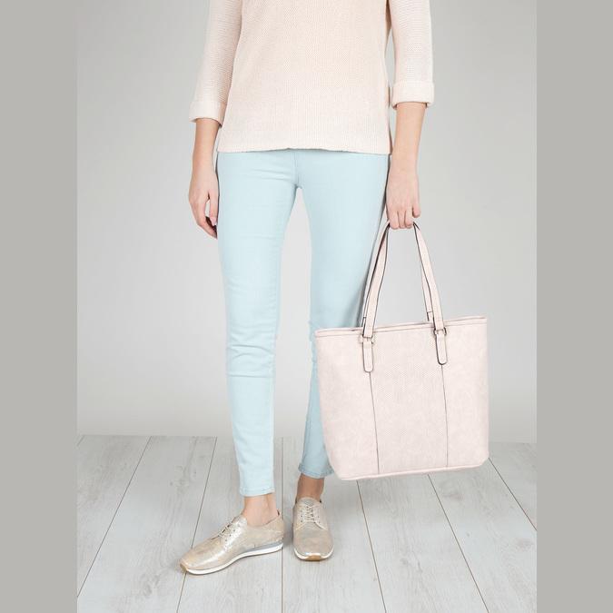 Różowa torba zperforacją bata, różowy, 961-5711 - 17