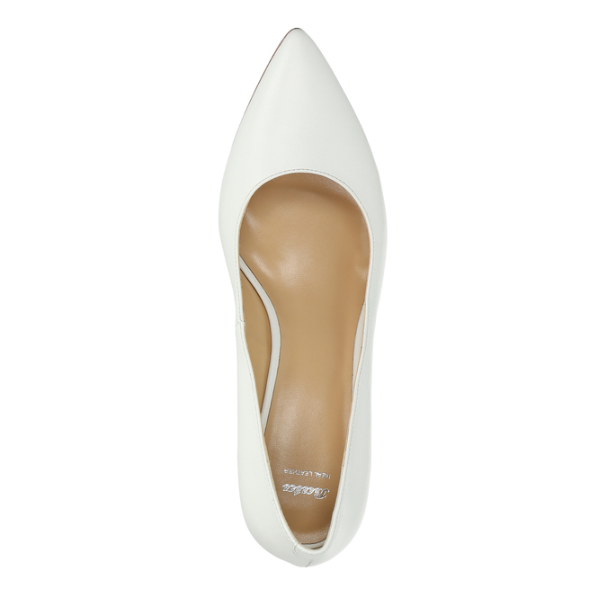 Damskie skórzane czółenka bata, biały, 624-1632 - 19