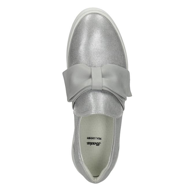 Skórzane slip-on zkokardami bata, srebrny, 516-2605 - 19