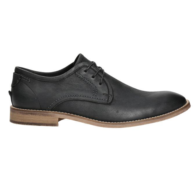 Skórzane półbuty męskie zkontrastowymi przeszyciami bata, czarny, 826-6815 - 15