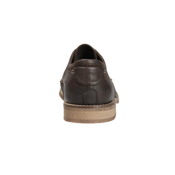 Brązowe półbuty ze skóry, zkontrastowymi przeszyciami bata, brązowy, 826-4815 - 17