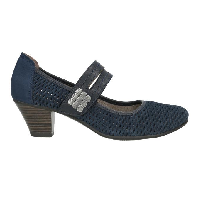 Niebieskie skórzane czółenka oszerokościH bata, niebieski, 623-9600 - 26