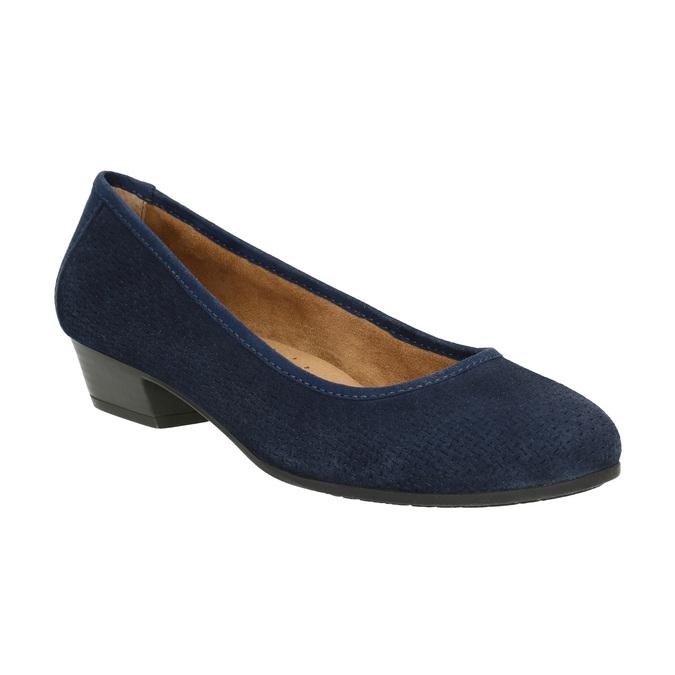 Skórzane czółenka oszerokościH bata, niebieski, 623-9601 - 13