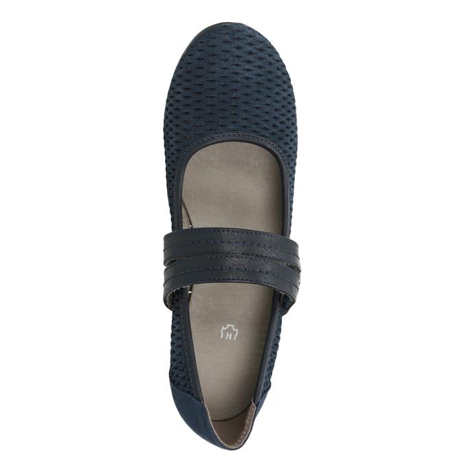 Niebieskie skórzane czółenka oszerokościH bata, niebieski, 623-9600 - 15