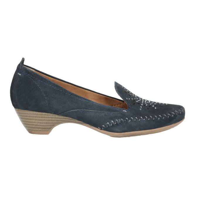 Skórzane mokasyny damskie oszerokościH bata, niebieski, 523-9603 - 15