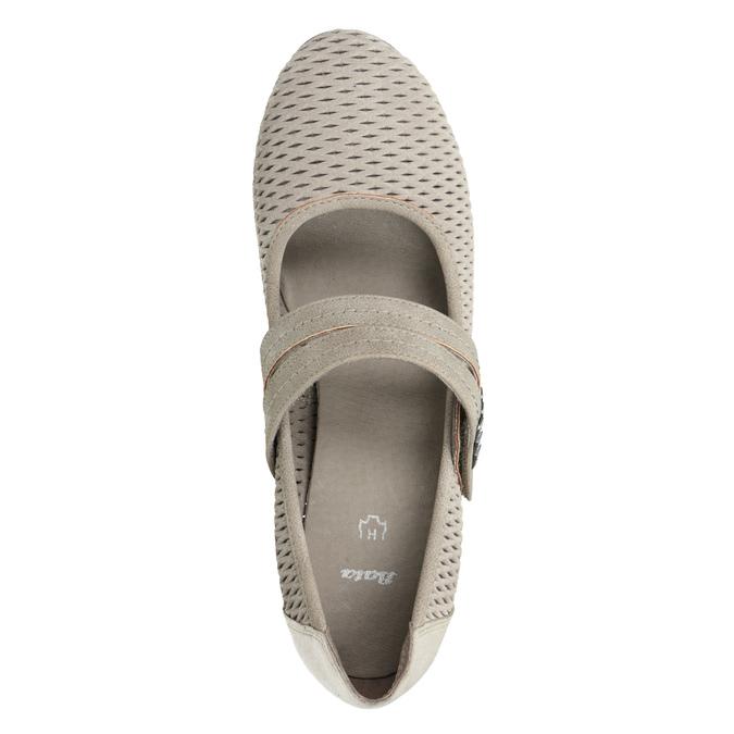 Skórzane czółenka oszerokościH bata, beżowy, 623-2600 - 15