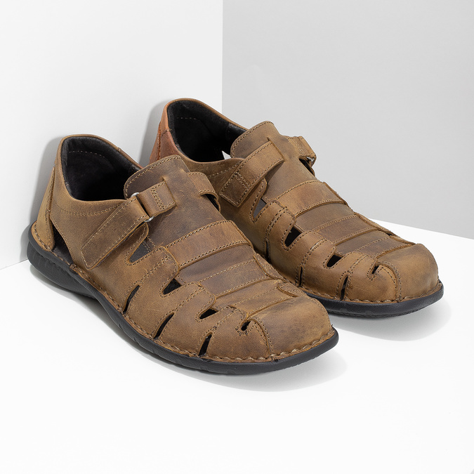 Brązowe skórzane sandały męskie bata, brązowy, 864-4600 - 26