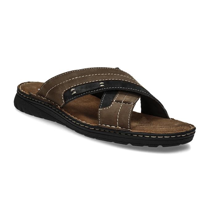 Letnie skórzane klapki męskie bata, brązowy, 866-4612 - 13