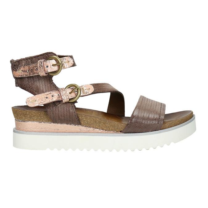 Sandały damskie na kontrastowej podeszwie bata, brązowy, 666-4604 - 15
