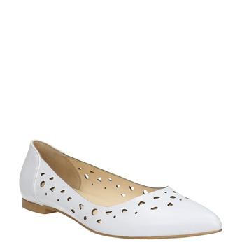 Białe skórzane baleriny bata, biały, 524-1604 - 13