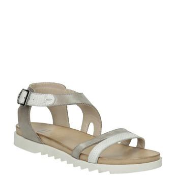 Skórzane sandały na kontrastowej podeszwie bata, szary, 566-2606 - 13