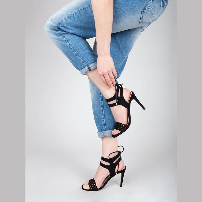 Czarne sandały na szpilce bata, czarny, 769-6603 - 18