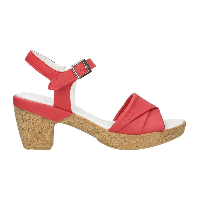 Skórzane sandały na niskim obcasie bata-touch-me, czerwony, 666-5203 - 15