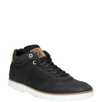 Skórzane trampki męskie za kostkę bata, czarny, 846-6641 - 13