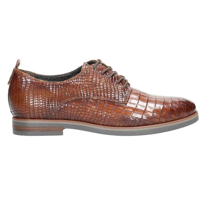 Skórzane półbuty zfakturą bata, brązowy, 526-4637 - 15
