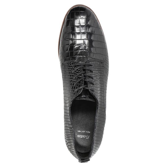 Skórzane półbuty damskie zfakturą bata, czarny, 526-6637 - 19