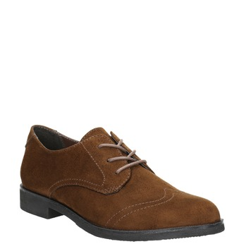 Brązowe półbuty damskie zprzeszyciami bata, brązowy, 529-4632 - 13