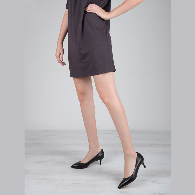 Skórzane czółenka damskie bata, czarny, 624-6640 - 18
