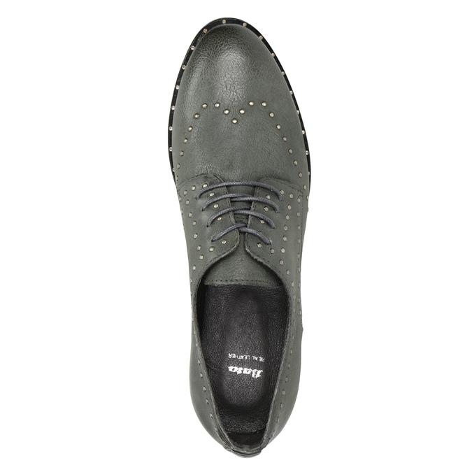Skórzane półbuty zmetalowymi ćwiekami bata, szary, 526-9643 - 15