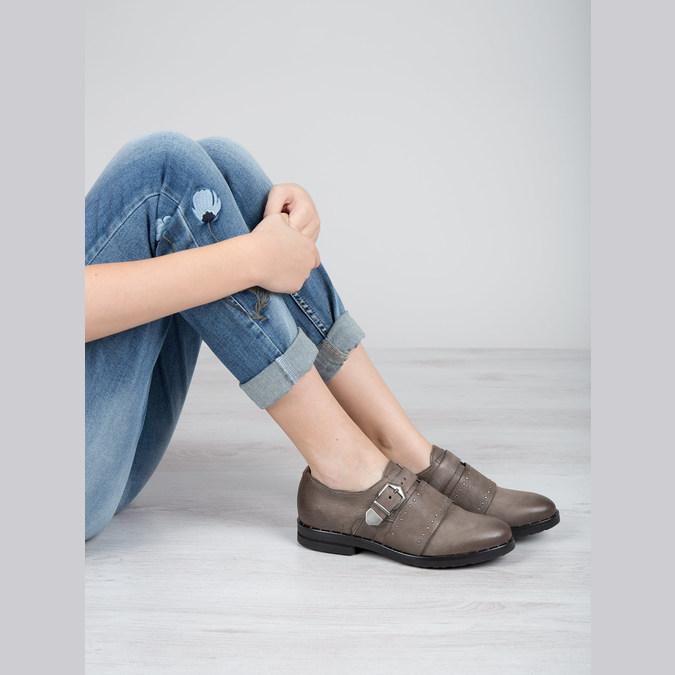 Skórzane półbuty damskie bata, brązowy, 516-2612 - 19