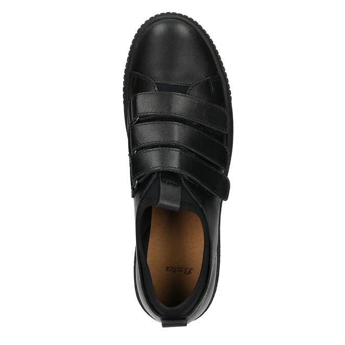 Czarne skórzane trampki na rzepy bata, czarny, 526-6646 - 15